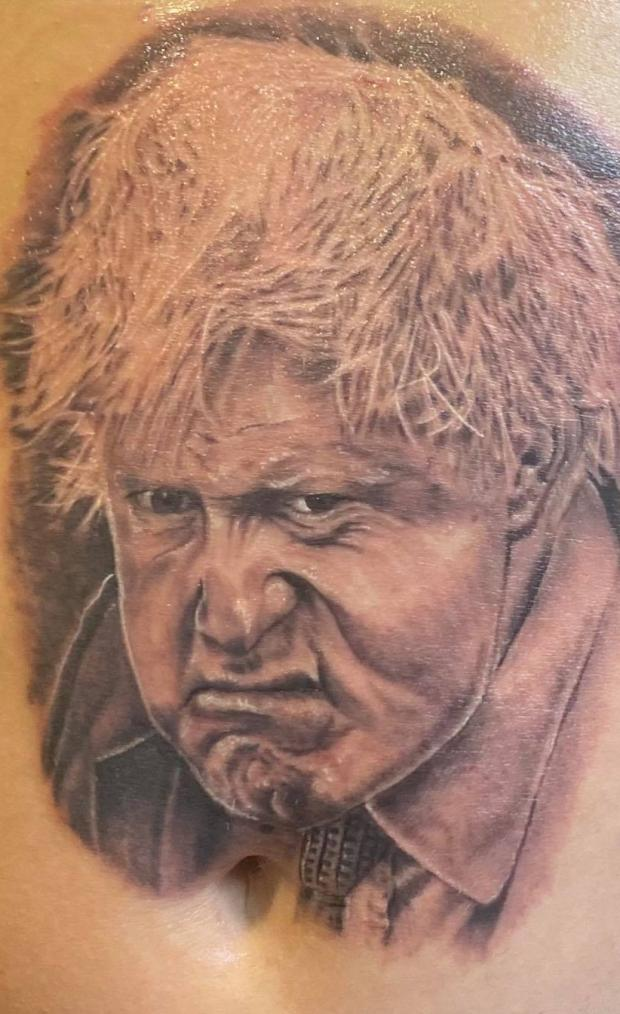 Kidderminster Shuttle: The Boris Johnson tattoo took two hours to complete. Photo from Jam Press