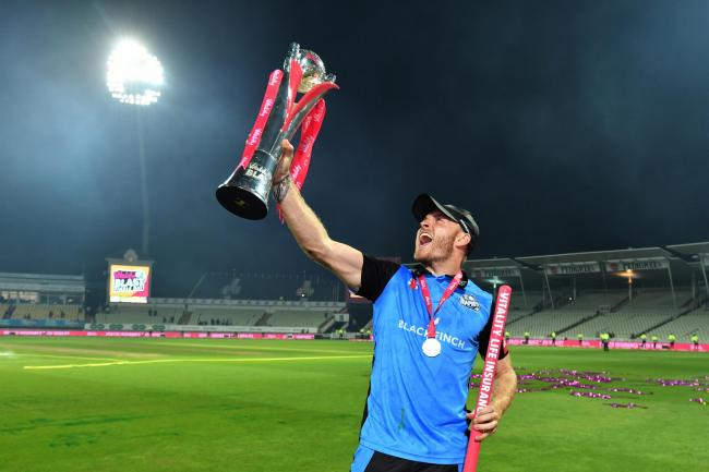 Worcestershire Rapids' Ben Cox celebrates with the trophy during the Vitality T20 Blast Final on Finals Day at Edgbaston, Birmingham..