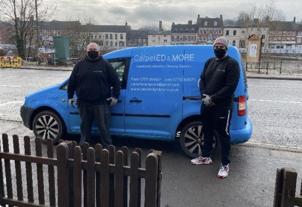 Kidderminster Shuttle: Gemma was contacted by Eddie Faulkner and Josh Skidmore from local firm CarpetED & More who helped save her sofa free of charge