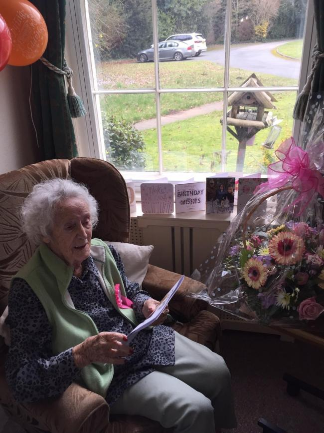 Lillian Thomson on her 100th birthday at Wolverley's Nightingales Residential Home