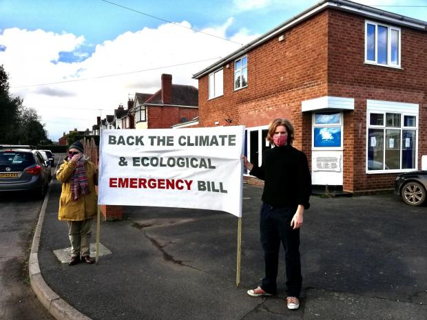 Kidderminster Shuttle: Protesters from the Extinction Rebellion marched on MP Mark Garnier's office in Stourport to urge him to support the bill