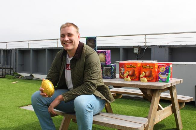 Joe Batley returns to Bristol Hospital to deliver Easter surprise for young people.