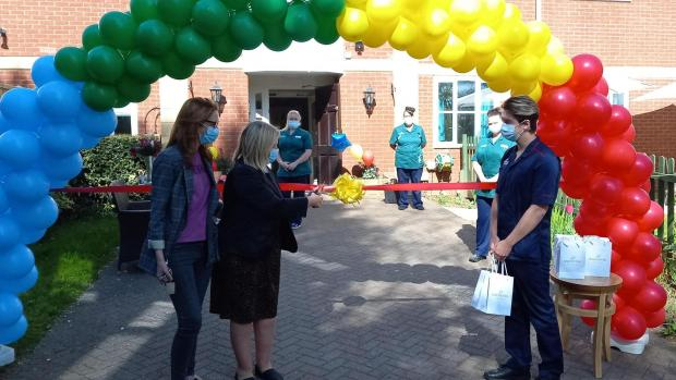 Kidderminster Shuttle: Staff at Hollyfields and Ivy House care home in Kidderminster welcomed relatives back into the home for the first time since lockdown on Monday
