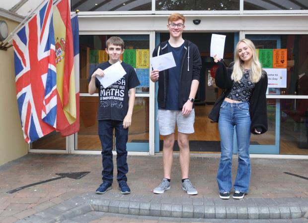 Kidderminster Shuttle: Successful Stourport students heading for the University of Warwick (from left) Will Powell, Morgan Jones and Paige Mansfield