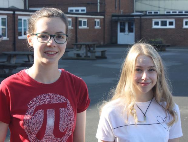 Kidderminster Shuttle: Stourport students Katy Jennings (left) and Grace Leon celebrate top grades