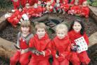 Forest school: Front, Gabriella Tyrrell, Eric Embery, Libby Jones and Corinne Hunt, all 4, with fellow pupils. Buy photo: 041101J.
