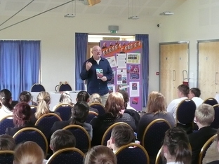 Olympic author: Robert Rigby talked to 100 Wyre Forest pupils.