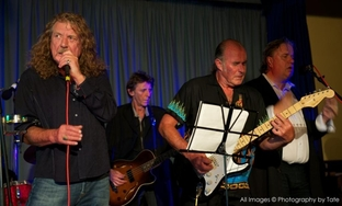 Supergroup: From left Robert Plant, Robbie Blunt and Neville Farmer gigged in tribute to late producer Pat Moran. Photo by Tate Taylor.