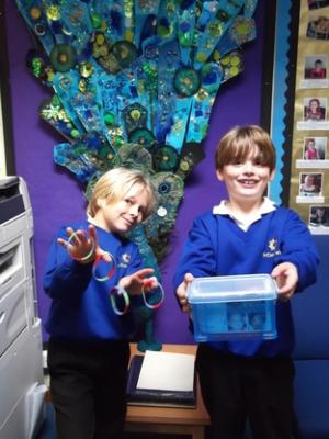 Helping hand: Finlay Fitton, left and Jacob Carthew, with the wristbands.