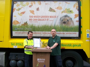 Waste collectors: From left, John Burgess and Carl Bilboe, the collection crew with their Let's Recycle Award for Excellence.