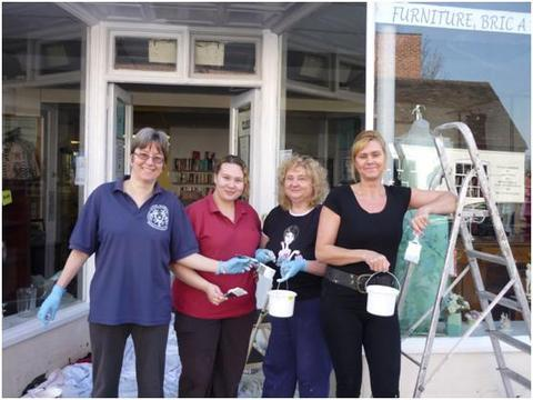 Paint job: From left Debbie Woster, Emma Fletcher, Sharon Fletcher and Pam Spivey, outside the Mentor Link Shop.