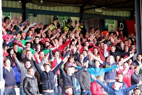 Fan power: Harriers' supporters were in good voice at Luton. Picture: Stefan Rapacz