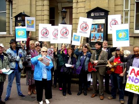 'Save our gallery': Protestors gather outside Kidderminster Town Hall, next to Worcestershire County Council's 'have your say' event. Photo: Colin Hill.