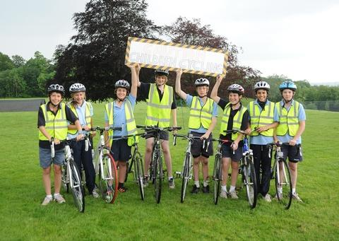 Charity cycle: Abberley Hall pupils get ready to take on the challenge.