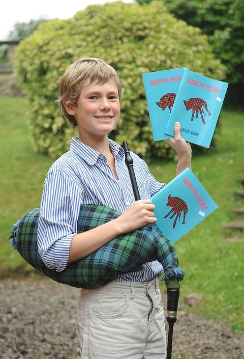 Bagpipe Island: Charlie Johns is one of the country's youngest published authors.