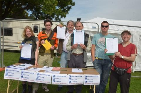 Save the hospital: Kidderminster Hospital Alliance members collected 1,132 signatures during last Saturday's Stourport Carnival. Photo: COLIN HILL. Buy this photo 371239C at kidderminstershuttle.co.uk/pictures or by calling 01562 633333.