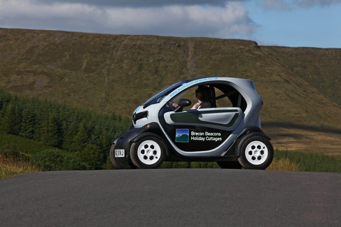 The Twizy in action around the Brecon Beacons.