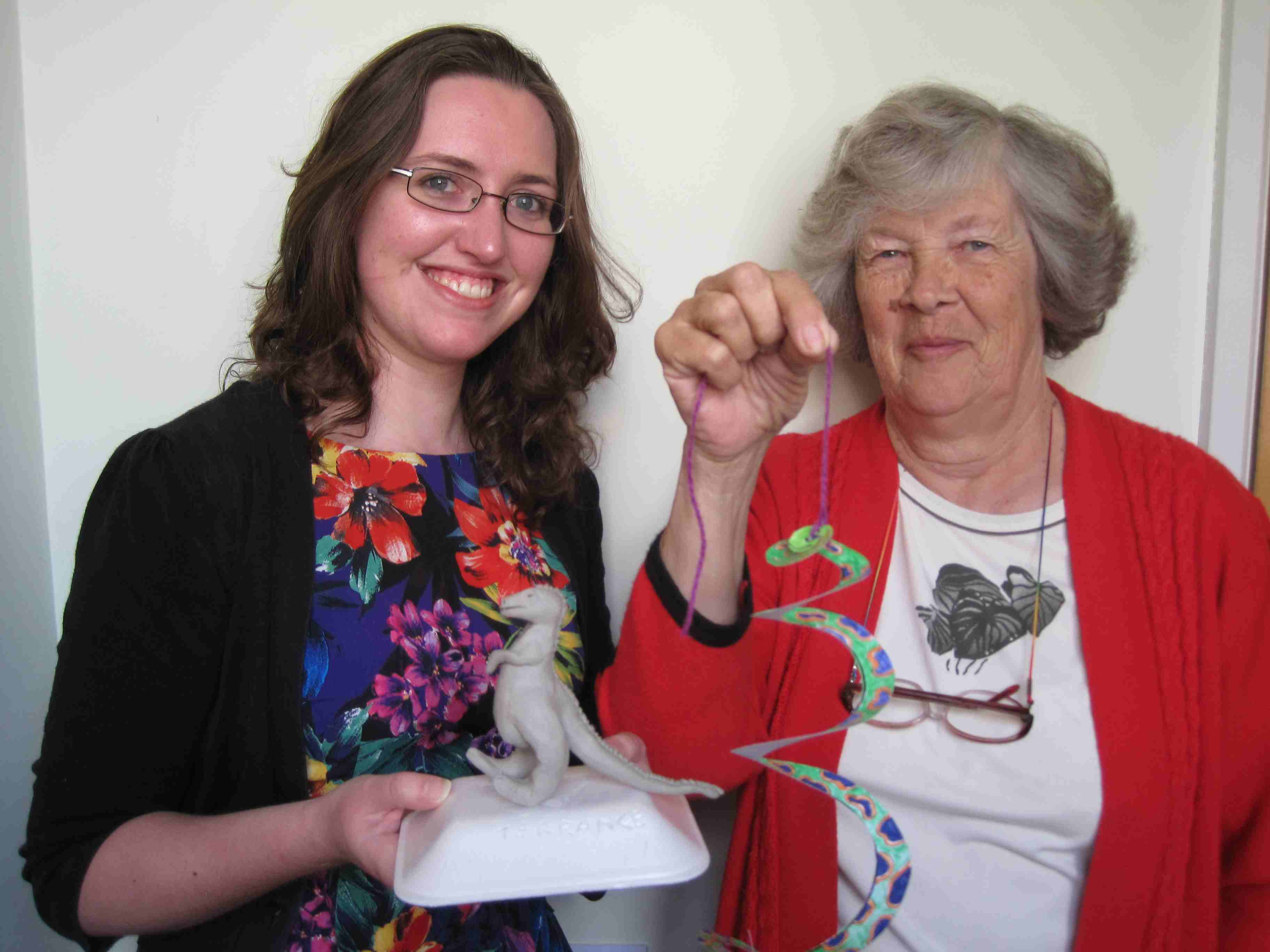 Beth Broadway and Diana Foster, Museum Volunteers, supervising this week's dinosaur themed craft activity sessions