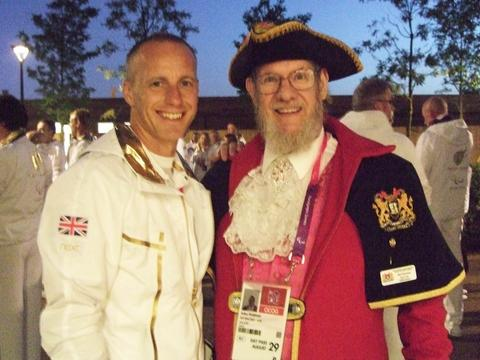 'Proud': Town crier Jim Pearman with Stourport Paralympian Matt Dimbylow.