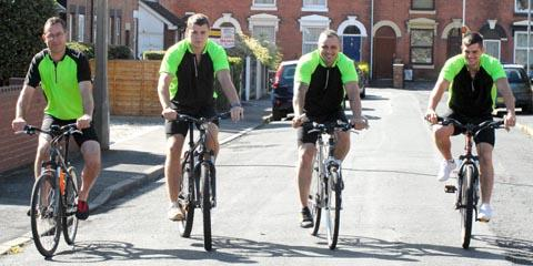 Pedal power: From left, Matthew Edwards, Jamie Edwards, Darren Hudson and Jon Edwards.