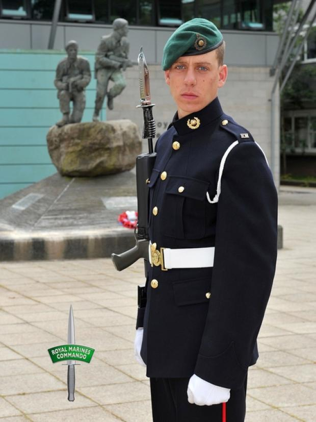 Green beret: Josh Strange completed his Royal Marine training.