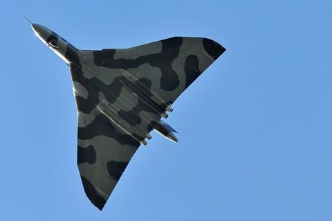 Taking flight: The vulcan bomber as it flew over Stourport. Photo: Joe Turner.