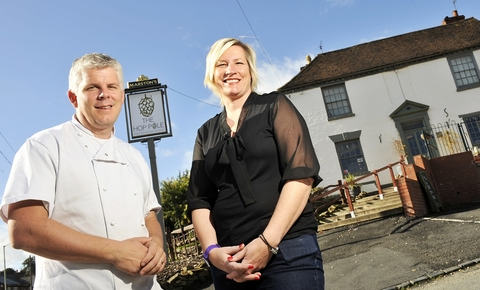 Going for gold: Daren and Louise Bale outside Bewdley pub The Hop Pole Inn.