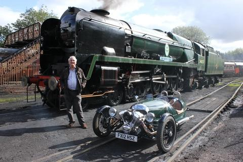 Steaming ahead: Event organiser John Leftwich with the Morgan 3 Wheeler and locomotive Sir Keith Park.