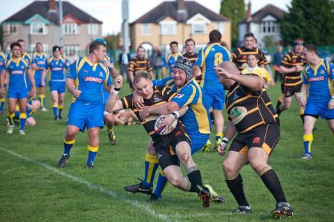 Tussle: KCs Andy McLellan tries to break free of a Kenilworth forward. Picture: DAVID TRAYNOR