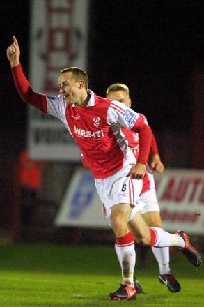 James Vincent celebrates his goal against Hyde at Aggborough earlier in the season.