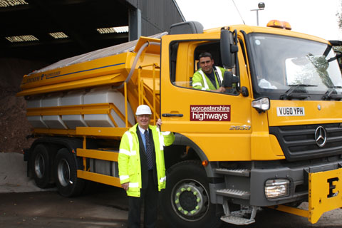 County road gritting teams on stand