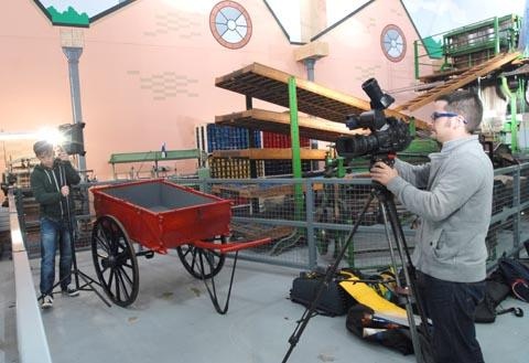 Take one: The filming crew working in the museum. Buy this photo 421237M at kidderminstershuttle.co.uk/pictures or by calling 01562 633333.