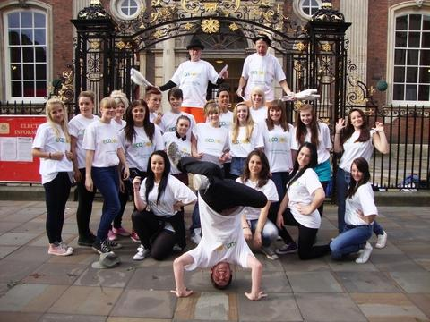 Flashmob: Kidderminster College students performed in Worcester.