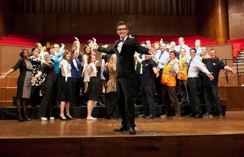 Proud moment: Gareth Malone on stage with Severn Trent's choir.