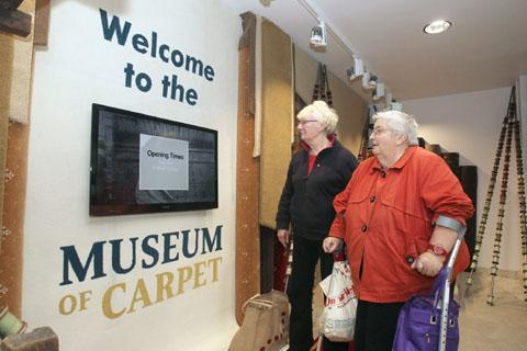 Welcome: Sheila Sabel, left and Maureen Roberts enter the Museum of Carpet. Buy this photo J441217J at kidderminstershuttle.co.uk/pictures or by calling 01562 633333.