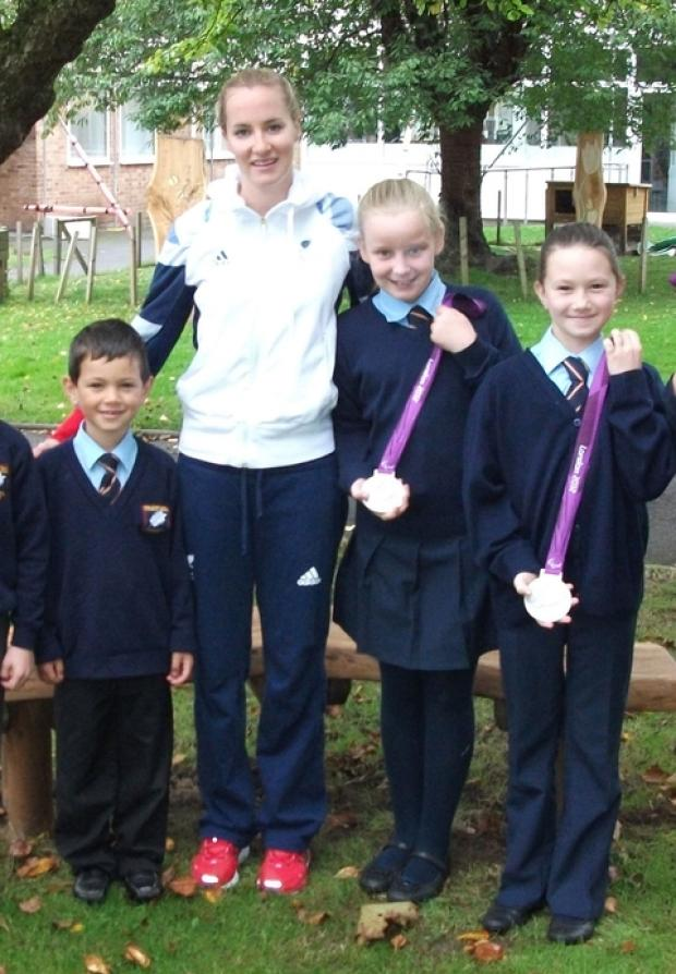 Paralympic hero: Claire Cashmore with Franche pupls, from left, Baylee Taffe-Gibbons, 6, Tia Shaw and Neve Riley, 11.