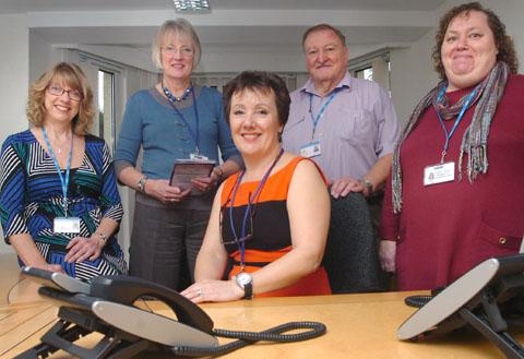 New service: Kemp workers at the launch of the new bereavement hub, back, from left, Karen Morton, Angela Gerrard, Ralph Williams, Jackie Turner and front, Anne Rendell.