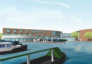 Artists impression: What James Brindley Wharf could look like from the basins.