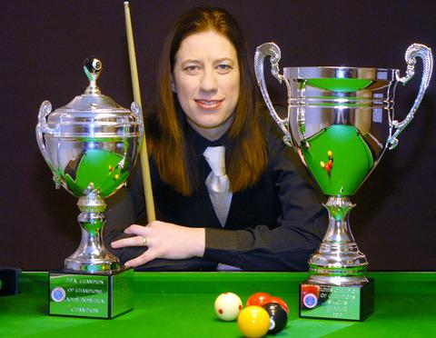 Cool as a cue-cumber: Sarah Nicklin shows off the silverware she won in Great Yarmouth. Picture: Miriam Balfry.