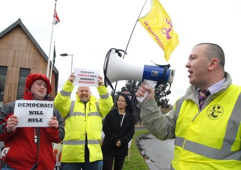 'WE WERE RIGHT': UKIP's Michael Wrench, right, leads a protest outside Wyre Forest House on its 2012 opening day.