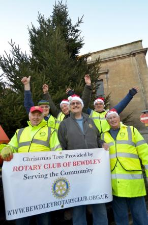 Tree-mendous: Bewdley Rotary Club members with the Christmas tree. Photo: COLIN HILL.