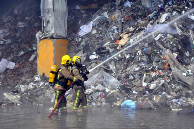 Firefighters tackling recycling centre fire
