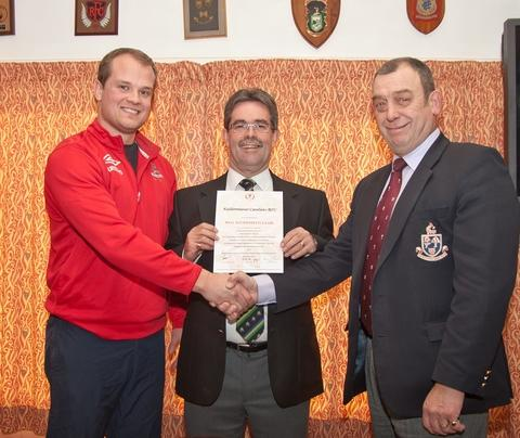 Credit is due: KCs president Brian Pinner (centre) and skipper Rob Delahay (left) received the RFU accreditation from Charlie Hemmings. Picture: DAVID TRAYNOR