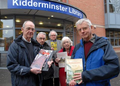 Kidderminster Shuttle: 'Valuable' facility: Archive users, from left, Melvyn Thompson, Don Gilbert, Nigel Knowles, Betty Park and Nigel Gilbert. Picture: MIRIAM BALFRY. 011309M.