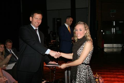 Special awards: Hannah Wilson receives her Princess Diana Award from Chris Holmes.