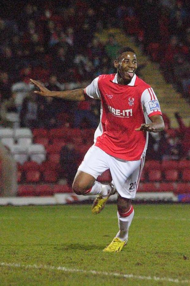 Jamille Matt celebrates his goal. Picture: ADRIAN HOSKINS