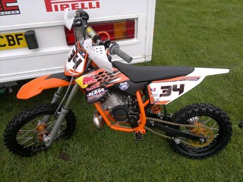 Stolen: Max Lewis' orange and black KTM 50 motocross bike which was taken from a garage in Stourport.