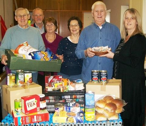 Helping hand: From left: Franche foodbank volunteers Mel Hartland, Graham Francis, Jacqueline Francis, Jill Hartland, manager Pastor Rob Palmer and Rose Leonard.