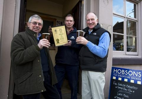 Beer cheer: From left, Richard Farquharson barley grower, Seisdon Wolverhampton, Rob Higginson, Hobsons original brewer and Geoff Thompson, hop grower, of Little Lambswick Farm, Lindridge, Tenbury Wells.