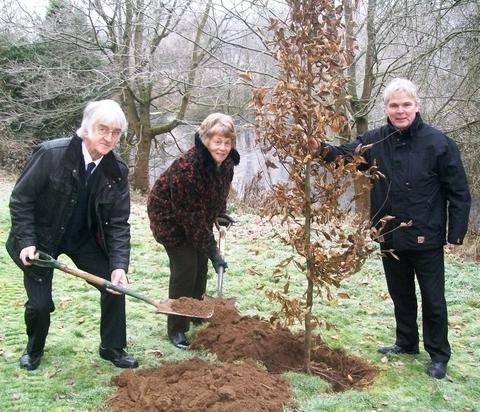 Tree-mendous: From left, Ian Hardiman, Jan Adams and Joe Scully, parks manager.